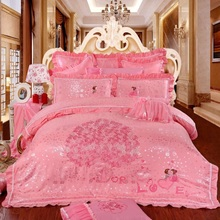Four sets of Red Embroidery Cotton wedding pink quilt sheet cover wedding celebration bed