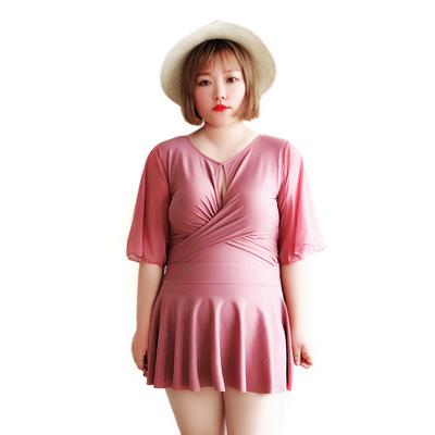 大码泳衣女胖mm200斤连体遮肚显瘦宽松性感泡温泉裙式加肥加大码