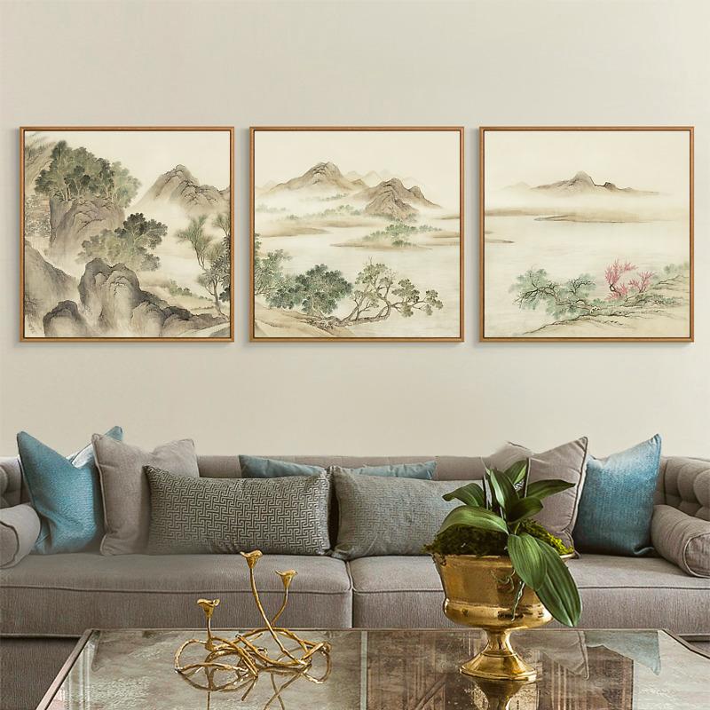 山水壁画 客厅沙发