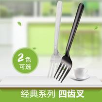 一次性黑色透明叉子西餐刀叉一次性水果刀叉勺 塑料叉子100只