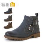 SHOEBOX/鞋柜男鞋 秋冬时尚头层牛皮男短靴系带商务休闲鞋皮鞋