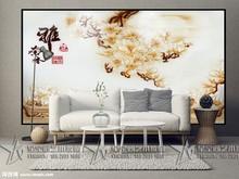 客厅电视沙发钢化深雕压花艺术玻璃背景墙过道屏风隔断玄关玉兰花