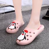 夏季男女凉拖鞋可爱小企鹅包头情侣凉拖鞋浴室内居家防滑软底拖鞋