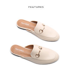 Features Horse button baotou half slippers female summer lazy shoes wear no heel casual shoes flat sandals and slippers