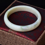 Natural genuine Shaanxi Lantian Jade Bracelet White with Cui Lao Pit Material Grade I Fashion Hand Jewelry Gift for Friends
