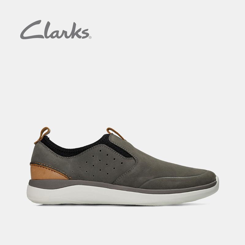 clarks其乐2018新款轻便鞋套脚潮流皮鞋Garratt Slip男士休闲鞋