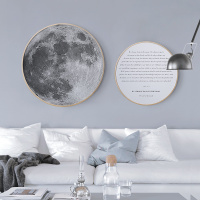 圆形装饰画现代简约实木挂画北欧ins客厅玄关沙发背景墙画 月球