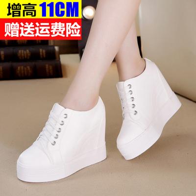 春秋新款厚底松糕内增高女鞋高跟休闲鞋11CM运动鞋韩版小白鞋单鞋