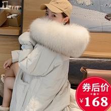 大毛领时尚 加厚显瘦过膝小个子爆款 反季清仓新款 羽绒服女中长款图片