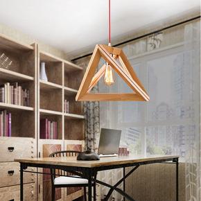 北欧简约现代咖啡厅酒吧办公室客厅三角几何创意木艺餐厅实木吊灯