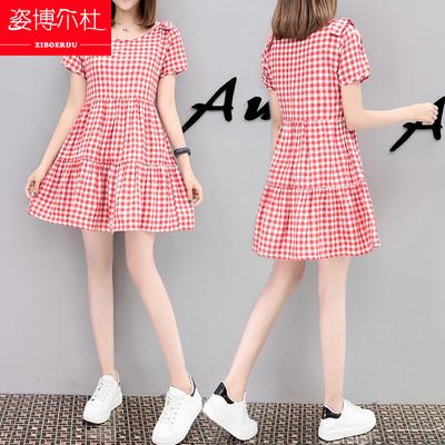 2018新款夏装初中高中学生甜美娃娃裙子韩版少女中长款格子连衣裙