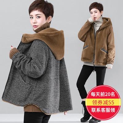 加绒加厚双面穿棉衣女短款韩国女装2017冬装新款正反两面穿仿兔毛