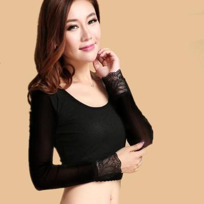 2017秋冬女修身加绒蕾丝袖半截半身 黑色低领圆领长袖网纱打底衫