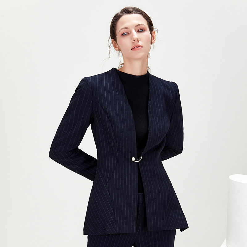 商场同款欧柏兰奴新款OL职业通勤条纹长袖西装外套女
