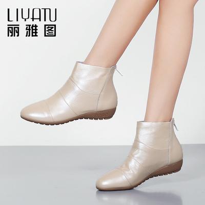 2018秋冬新款平跟低跟真皮平底短靴女靴休闲圆头大码女鞋春秋单靴