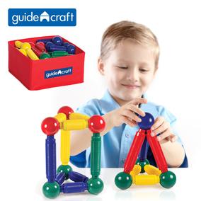 儿童磁性拼插玩具益智美国guidecraft磁力棒益智积木30件60/100件