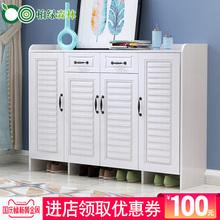 实木鞋柜现代简约玄关门厅柜白色简易鞋柜大容量阳台客厅储物柜