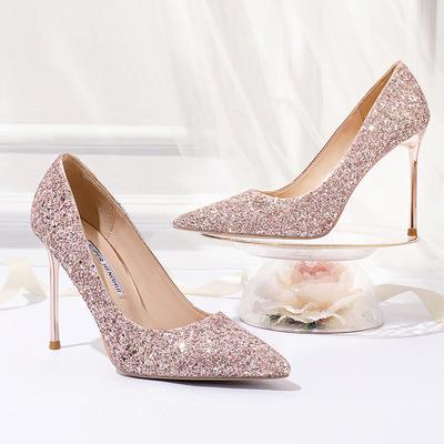 婚鞋女2019新款亮片超高跟鞋女细跟单鞋尖头水晶礼服金红色新娘鞋