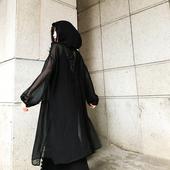 暗黑冷淡连帽宽松刺绣防晒衫 中长款 黑色朋克风街头雪纺衫 风衣外套