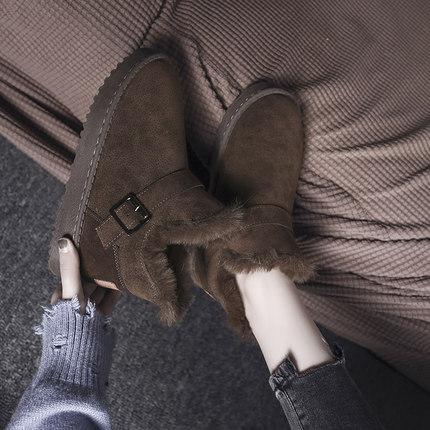 平底靴子女2018新款女鞋冬季加绒加厚保暖雪地靴女短筒百搭女棉鞋
