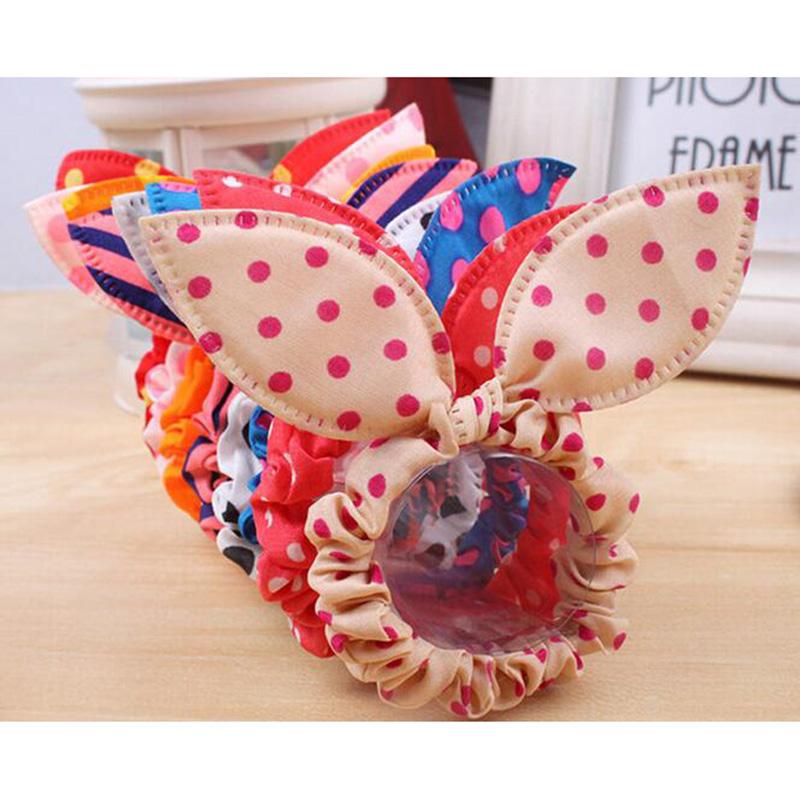 10个韩版兔耳朵发绳波点发饰头饰发圈发带头花职业头饰糖果色发绳