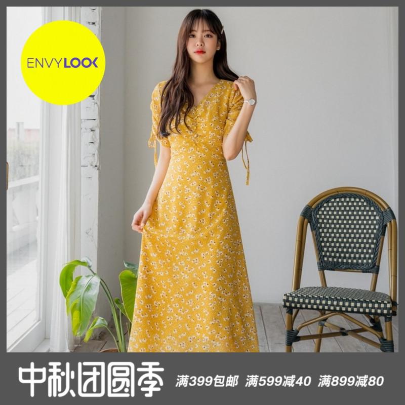 韩国22xx正品2019夏季新款ENVYLOOK抽褶系带袖薄款碎花连衣裙