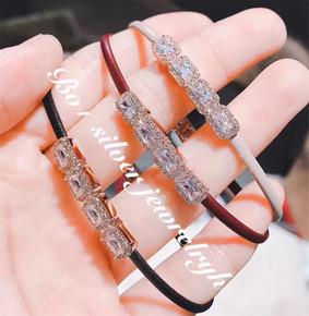 韩国新款时尚闪亮水钻皮制手环手链女 日韩百搭学生饰品个性手镯