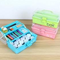 三层手提式女孩美术工具箱大号儿童画画小学生水粉绘画油画箱塑料