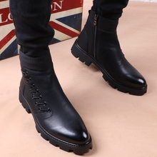 Winter Tip Martin Boots, Thick Bottom English Suede Boots, Men's Cotton Boots, Locomotive Boots, Hairstyle Teachers'High Upper Leather Shoes