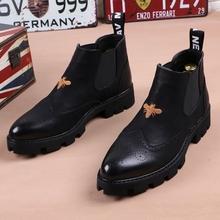 皮靴子尖头马丁靴加绒英伦短靴厚底增高发型师高帮皮鞋 冬季男士