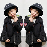 Children's stormclothing boys and girls in the big children's windbreaker jacket spring and autumn short jacket outdoor goose children's clothing