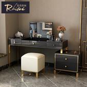 后现代化妆桌卧室金属不锈钢简约港式样板房轻奢梳妆台 莱茵斯顿图片