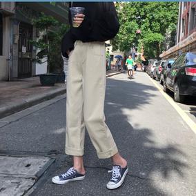 秋装新款韩版ulzzang复古百搭高腰显瘦宽松阔腿学生直筒牛仔裤女