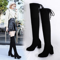 2018 new autumn and winter thick with high boots women's boots over the knee boots high-heeled boots thin boots elastic boots