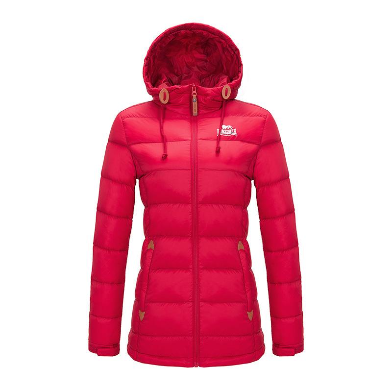 龙狮戴尔女士轻薄羽绒服女中长款修身韩版冬装新款连帽外套潮反季