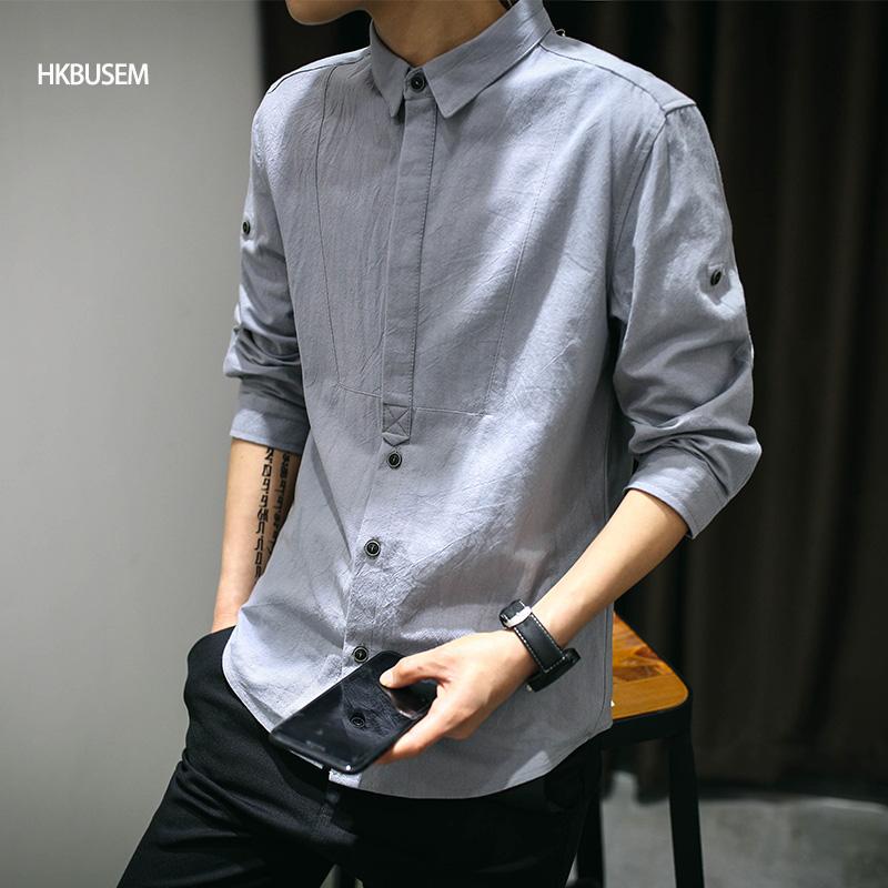 7分袖衬衫男夏季