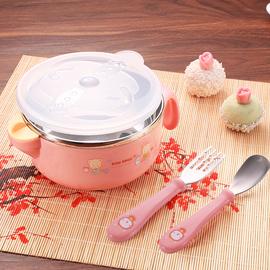 宝宝注水保温碗儿童餐具套装吃饭碗不锈钢防摔吸盘碗婴儿辅食碗勺图片