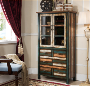 美式乡村做旧客厅书柜韩式田园实木质书柜酒柜多功能厨房柜餐边柜