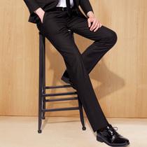 春秋季修身西裤男士商务正装宽松直筒休闲小脚西装裤黑色西服裤子