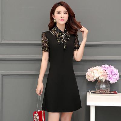 2018夏装新款三四十岁女人夏天的裙子雪纺拼接气质显瘦短袖连衣裙