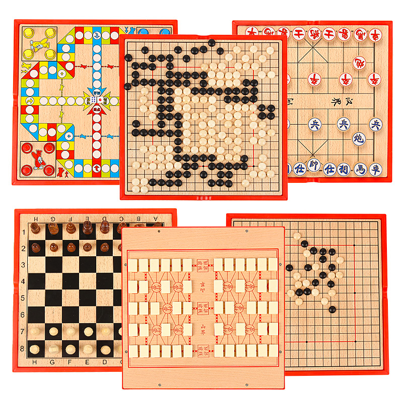 multi-function chess Chinese chess six-in-one board games wooden children's educational toys fly