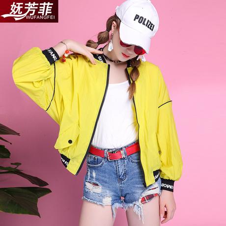妩芳菲2019夏季新款韩版时尚短款夹克衫女装外套棒球服上衣原宿风商品大图