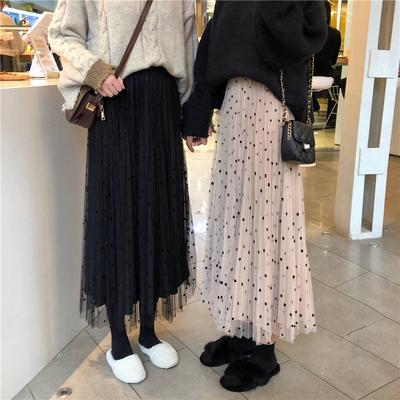 仙女长裙子2018秋冬chic新款丝绒网纱两穿半身裙百搭加厚款百褶裙