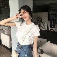 Summer Korean women's new lace stitching fake two-piece shirt round neck short-sleeved knit sweater wild T-shirt