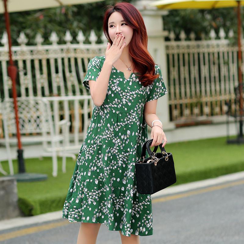 夏新款中老年女装棉绸连衣裙中年妈妈装大码修身短袖绵绸碎花裙子