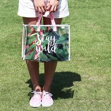 包邮 原品生活 PVC手拎游泳包便携衣物收纳包时尚透明沙滩包