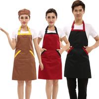 韩版时尚全棉加厚挂脖工作围裙奶茶美甲咖啡店烘焙定做印字印LOGO