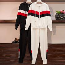 实拍2019新款胖妹妹大码毛衣女套装微胖MM洋气减龄遮肉显瘦两件套