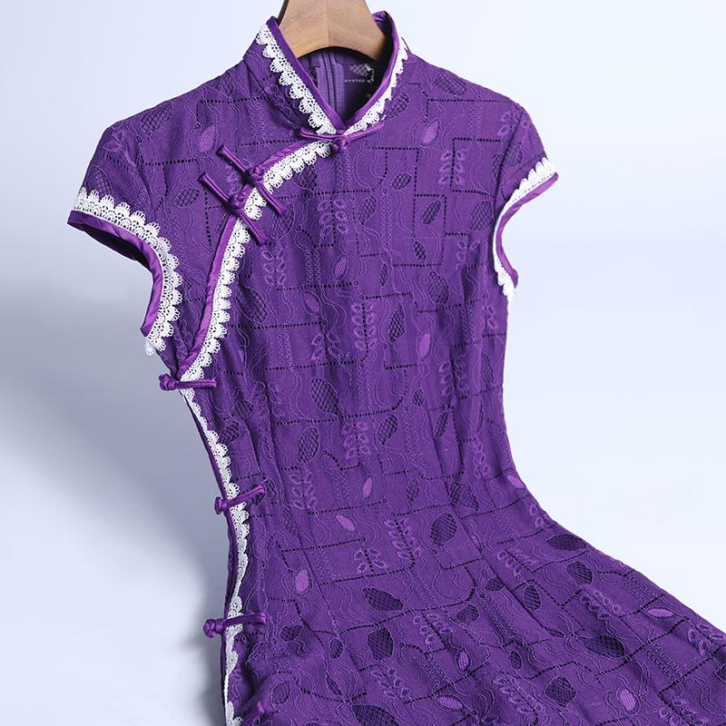 紫色优雅连衣裙日常改良中国风新款春夏