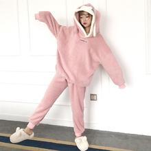 秋冬韩版加厚毛绒可爱兔耳朵宽松连帽睡衣睡裤两件套家居服套装女